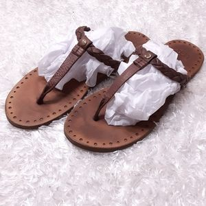 UGG Bria Leather Braided T Strap Sandals